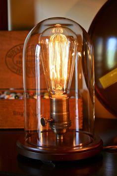 Vintage bell jar table lamp, rustic industrial lamp, edison bulb, steampunk, antique. $75.00, via Etsy.