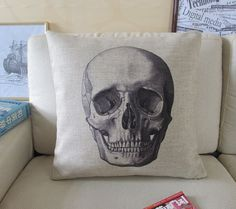 1 handmade linen cool skull scull printed retro style decorative pillow cover / cushion case 18""