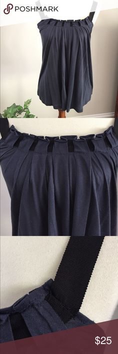Club Monaco Navy Top with Black Criss Cross Straps Adorable top that has a unique pleated front with groisgrain ribbon weaves through. Groosgrain ribbon straps and cross cross back. 100% Lyocell (form of Rayon). In great gently used condition. Club Monaco Tops