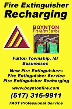 Fire Extinguisher Recharging  Fulton Township(517) 316-9911.. Local Michigan Businesses you have found the complete source for Fire Protection. Fire Extnguishers, Fire Extinguisher Service.. We're got you covered..