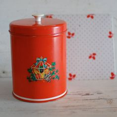 Red Kitchen Tin Canister Vintage Decal Hotpad by stonebridgeworks, $12.00