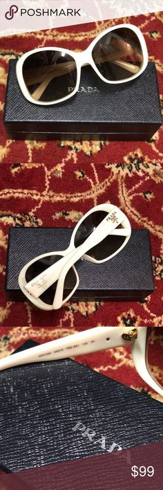 Prada Oversized Sunglasses Brand New in Box Prada Oversize Sunglasses. Color is galaxy white with brown gradient. Model number SPR 03M. Guaranteed Authentic. Comes w/ box/cleaning cloth/authenticity card. Prada Accessories Sunglasses