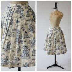 Vintage 50s original toile de jouy novelty print skirt Asian garden 6 XS