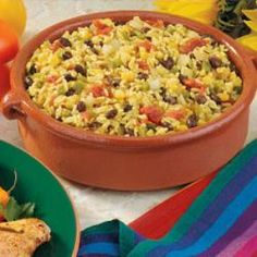 Southwestern Rice Allrecipes.com-- trade for almond milk and vegan butter sounds good