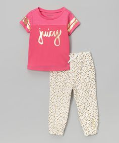 Look at this Pink & White Tee & Pants - Infant, Toddler & Girls on #zulily today!