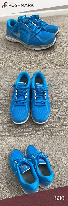 Blue Nike dual fusion run. Bright blue Nike running shoes. Nike Shoes Athletic Shoes