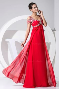 Elegant empire waist floor-length chiffon dress with beading deocration