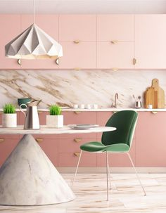 20 Trending Kitchen Cabinet Paint Colors - our home - ideas - Add a royally feminine touch to your kitchen with pink cabinets paired with warm marble and touches - Pink Kitchen Cabinets, Kitchen Cabinet Kings, Kitchen Cabinet Design, Painting Kitchen Cabinets, Kitchen Interior, Kitchen Office, 60s Kitchen, Pantry Cabinets, Kitchen Taps