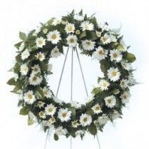 white daisy wreath