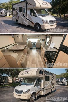 Travel in ultimate comfort & style in the Thor Four Winds Sprinter! Stop by Lazydays in FL to take a tour. Four Winds Rv, Luxury Rv Living, Van Dwelling, Van Home, Travel Trailers For Sale, Used Rvs, Cool Campers, Auto Design, Gypsy Caravan