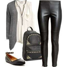 I like this casual edginess. I love everything about this but worry the faux leather leggings may make me sweaty? Pretty Little Liars Outfits, Cute Outfits, Trendy Fashion, Womens Fashion, Professional Outfits, Faux Leather Leggings, Autumn Winter Fashion, Winter Style, Hanna Marin