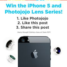 Photojojo's giving away an iPhone 5 along with our cell phone lenses, today only! Click through to our facebook to enter!