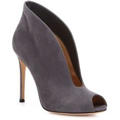 Gianvito Rossi Vamp Suede U Peep Toe Booties ($875) ❤ liked on Polyvore featuring shoes, boots, ankle booties, apparel & accessories, suede peep toe booties, suede ankle boots, peep toe ankle boots, short suede boots and peep-toe booties