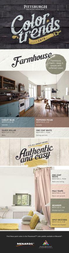 Farmhouse Design Trend | This color palette represents calm and comfort. It is charming without being cutesy. To achieve the look incorporate natural elements in your room by including neutral colors on your walls, using wooden flooring and accentuating brick accents. Keep your space simple and fresh with these softened colors. Find these hues and more 2018 color trends at your local Menards® retailer.