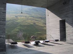 A relaxation area, at Swiss architect Peter Zumthor's Thermal Baths Vals, overlooks the hills of Graubünden, Switzerland.