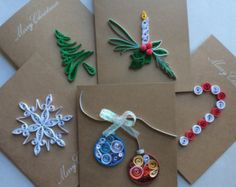 Handmade quilled Christmas greeting card with cone by vanilllas