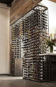 Wine rack constructed with rebar at the Santa Monica restaurant Tar & Roses.