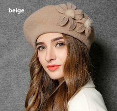 Handmade flower beret hat wool winter fisherman hats for women vintage style