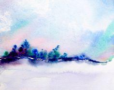 Acuarela paisaje pintura paisaje arte acuarela por ThimbleSparrow