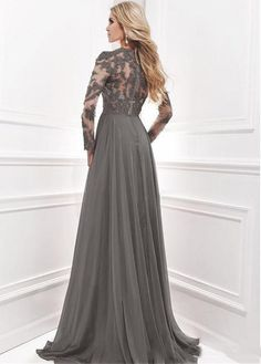 0d814924918 Gray Lace Beads Mother of the Bride Dress V Neck Long Sleeve Chiffon Gown  Custom