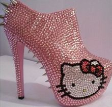 Pink Crystal Daffodile Spiked Red Sole High Heels Ankle Boots.
