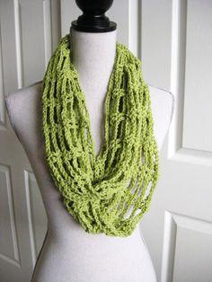 Cowl Scarf CrochetedLacySpring Green by RoseJasmine on Etsy, $20.00