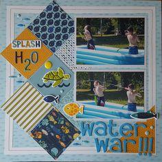 OCEAN SEA LIFE Summer Title paper piecing for premade scrapbook page Rhonda rm613art
