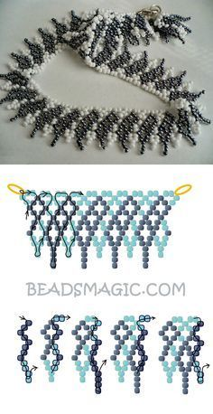 Best Seed Bead Jewelry 2017 Free pattern for necklace Shade of Grey Seed Bead Tutorials Beaded Necklace Patterns, Seed Bead Patterns, Bracelet Patterns, Beading Patterns, Seed Bead Necklace, Seed Bead Bracelets, Peyote Bracelet, Bead Earrings, Bead Jewellery