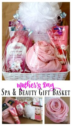 Mother's Day Spa & Beauty Gift Basket - Bubble bath, face masks, towels, hand/feet treatments, & more! Mothers Day Spa, Mothers Day Baskets, Mother's Day Gift Baskets, Themed Gift Baskets, Mothers Day Crafts For Kids, Diy Mothers Day Gifts, Gifts For Kids, Raffle Baskets, Mother Gifts