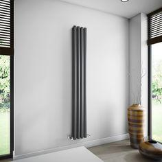 Brenton Oval Double Panel Vertical Radiator - 1800mm x 240mm - Anthracite | SAH4/1800DA | Only Radiators