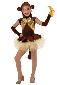 Style# 17416 MONKEY BUSINESS  Chocolate velvet leotard with gold sequin on spandex inserts and attached top skirt. Separate gold tulle tutu. Bow, sequin braid and sequin trim. Headpiece, mitts and tail included. XSC-XLC