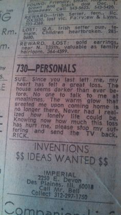 funny lonely hearts ads