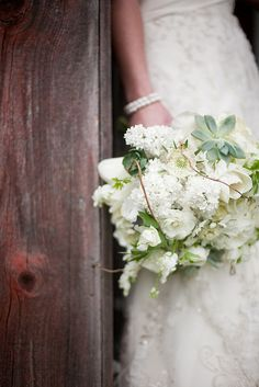 Pretty dress and bouquet.