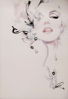 Marilyn Monroe | From a unique collection of figurative drawings and watercolors at http://www.1stdibs.com/art/drawings-watercolor-paintings/figurative-drawings-watercolors/