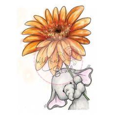 Tampon dessin animaux éléphant et fleur