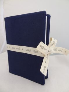 Handmade Wedding Guest Book, A6, Navy fabric with ribbon detail, Quality Sketch Book inside