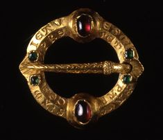 14th century Ring brooch from Enniscorthy Abbey. British Musuem; gold; set with…