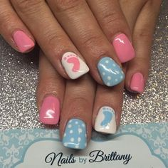 Gender Reveal Nails by nailsbybritt - Nail Art Gallery https://nailartgallery.nailsmag.com by Nails Magazine https://www.nailsmag.com #nailart