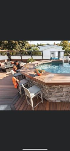 Above Ground Pool Landscaping, Backyard Pool Landscaping, Backyard Patio Designs, Swimming Pools Backyard, Small Above Ground Pool, Above Ground Swimming Pools, In Ground Pools, Oberirdischer Pool, Pool Side Bar