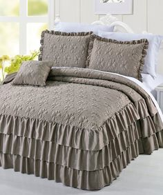 Shop for Serent Matte Satin Ruffle Bedspread Set. Get free delivery On EVERYTHING* Overstock - Your Online Fashion Bedding Store! Ruffle Bedspread, Ruffle Quilt, Ruffles, Bed Sets, Bedroom Themes, Bedroom Decor, Quilted Bedspreads, Cool Beds, Quilt Sets