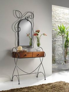 Inspiring mirror designs that will bring luxury to your home! These mirrors combined with a modern console table are the perfect combination. Iron Furniture, Home Furniture, Modern Console Tables, Iron Art, Iron Decor, Dresser With Mirror, Easy Home Decor, Decoration, Wrought Iron