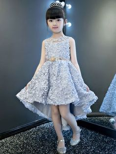 Girls' Clothing Fine Girl Party Dress With Sleeve A Line Swing Asymmetrical Hem Dress Solid O-neck Pleated Girl Dresses Kids Casual Birthday Outfits