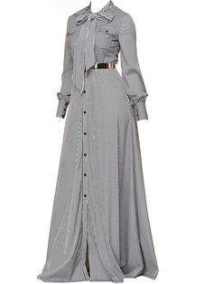 Black A-line Bow Collar Striped Patchwork Maxi Dresses (Style – Hijab Fashion 2020 Maxi Dress With Sleeves, Floral Maxi Dress, Casual Dresses, Fashion Dresses, Maxi Dresses, Long Dresses, Mode Hijab, Muslim Fashion, Beautiful Dresses