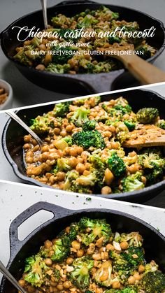 Chickpea, Cashew & Broccoli with Garlic Sauce Skillet (Vegan) - Make It Dairy Free - delicious plant based dinner! Broccoli Recipes, Veggie Recipes, Vegetarian Recipes, Dinner Recipes, Healthy Recipes, Vegan Chickpea Recipes, Broccoli With Garlic Sauce, Vegan Dinners, Feta