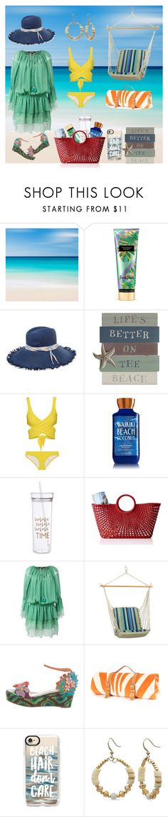 """Untitled #51"" by anet-ko on Polyvore featuring Victoria's Secret, Maison Michel, Lisa Marie Fernandez, Mark & Graham, Roberto Cavalli, Christian Louboutin, Casetify and Kim Rogers"