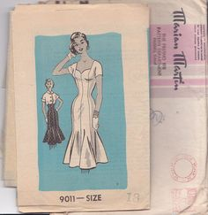 Great Bombshell style dress and bolero 1956 Marian Martin 9011 Size 18 Bust 36, dress illustration