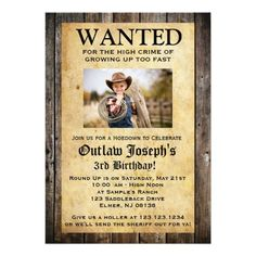 "Cowboy Party Invitation | WANTED INVITATION 5"" X 7"" Invitation Card"