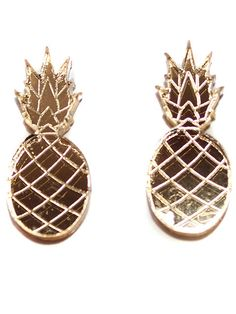 Acrylic gold mirror pineapple stud earrings. Measures 25mm. Item ships in 3-5 business days. Comes with a box and wrapped with ribbon. Handmade in New York City.