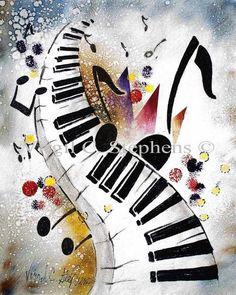 Piano keys  music notes