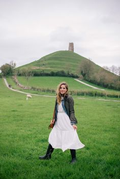Gal Meets Glam Glastonbury Tor - Rebecca Taylor dress, Madewell denim jacket, Ralph Lauren jacket, Hunter Boots, and Chloe bag